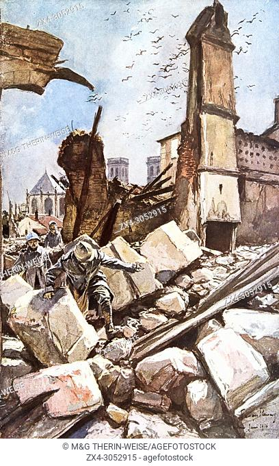 Destroyed ramparts, Verdun, 1916, Meuse Department, France