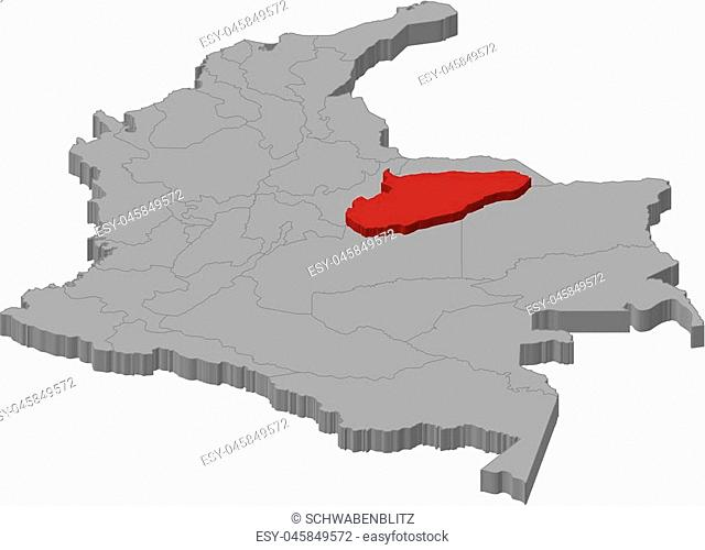 Map of Colombia as a gray piece., Casanare is highlighted in red