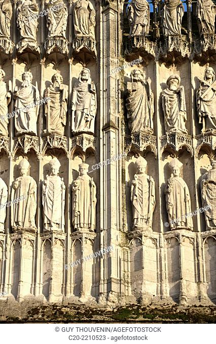 Statues of archishops , apostles, and prophets, central doorway (16h c. ), western facade, Cathedral Notre Dame (12th c. ), exterior, Rouen , upper Normandy