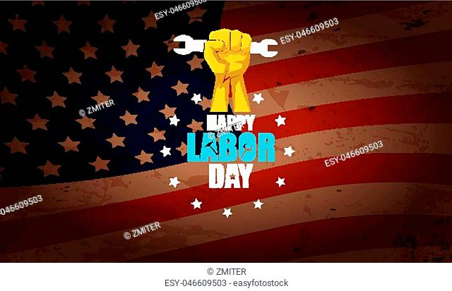 labor day Usa text vector label or horizontal background. vector happy labor day poster or horizontal banner with clenched fist isolated on usa flag background