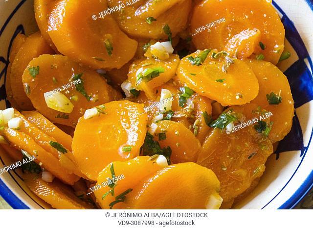 Traditional food. Moroccan carrots salad. Morocco
