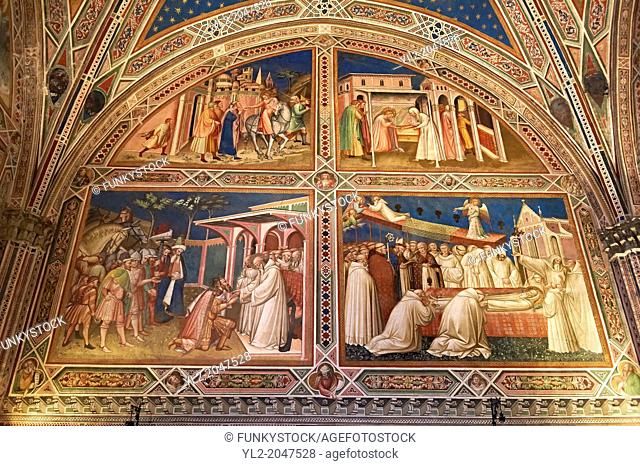 Frescoes of the Sacristy depicting the life of Saint Benedict dating from 1387 and commissioned by Benedetto degli Alberti .San Miniato al Monte (St