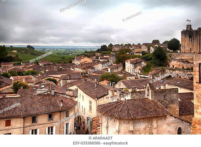 panorama of St-Emilion village in rain