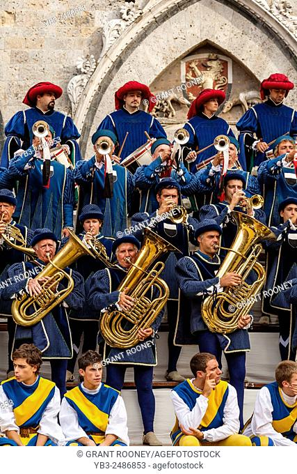 Local Musicians Play During The Corteo Storico (Historic Pageant) The Palio di Siena, Tuscany, Italy