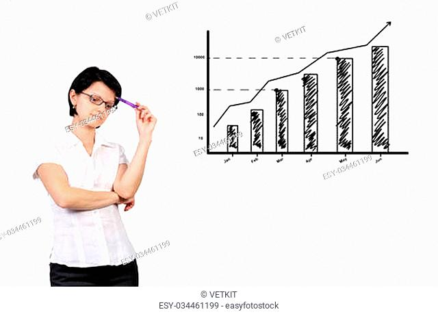 Businesswoman dreaming and graph showing profit growth
