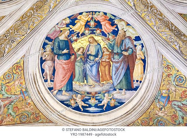 Christ tempted by the devil, 1508, Pietro Vannucci, called the Perugino, fresco, ceiling of the room of the fire in the borgo ,Raphael's rooms, vatican museums