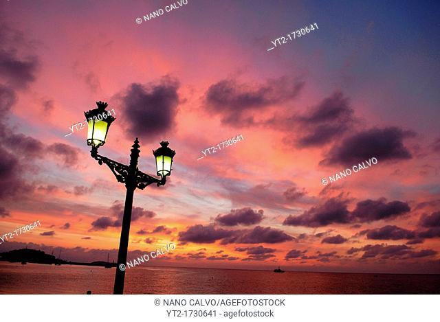 Amazing sunrise in Santa Eulalia del Rio