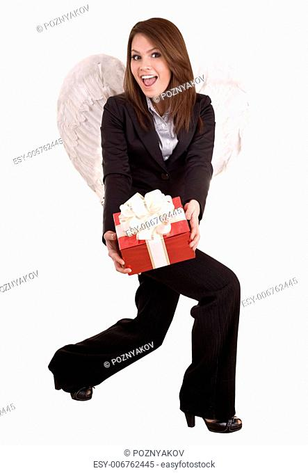 Business woman angel with christmas red box. Isolated