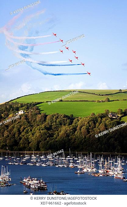 England Devon Kingswear Royal Air Force Red Arrows aerobatics display at Dartmouth Regatta