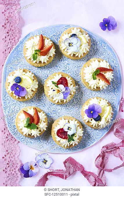 Small lemon and elderflower tarts