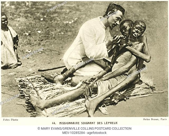 Mozambique, Africa - Christian Missionary treating and caring for African victims of leprosy
