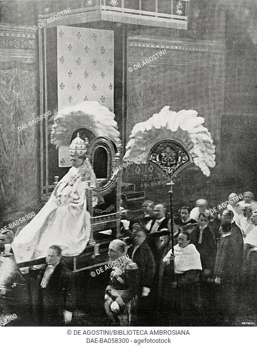 Pope Pius XI in the gestatorial chair in the Sistine Chapel, Vatican City, from L'Illustrazione Italiana, Year LI, No 8, February 24, 1924