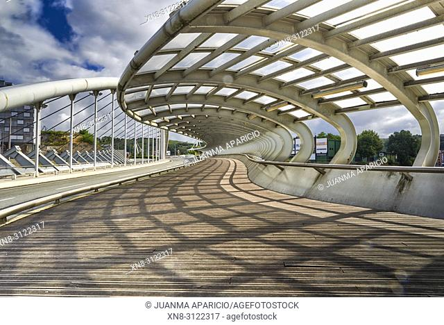 Bridge over Galindo River, Barakaldo, Biscay, Basque Country, Spain, Europe