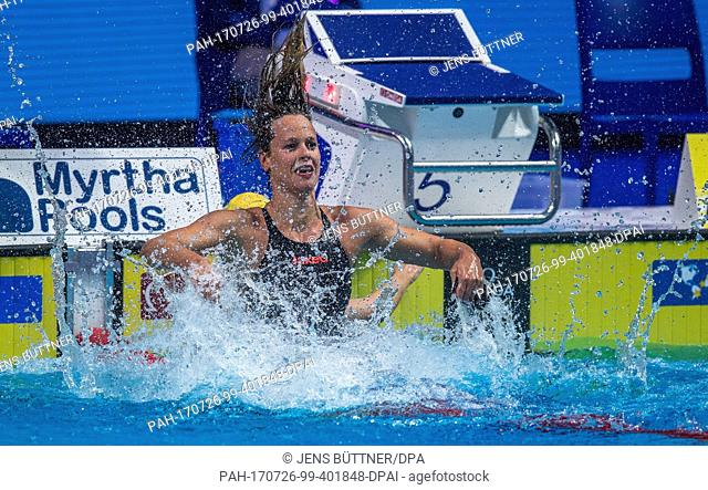 Italy's Federica Pellegrini is world champion in the women's 200m freestyle at the FINA World Championships 2017 in Budapest, Hungary, 26 July 2017