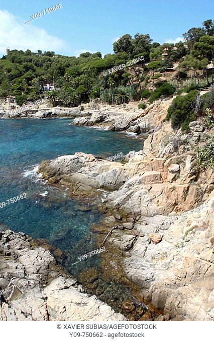 Cala Banys, Lloret de Mar, Costa Brava. La Selva, Girona province, Catalonia, Spain