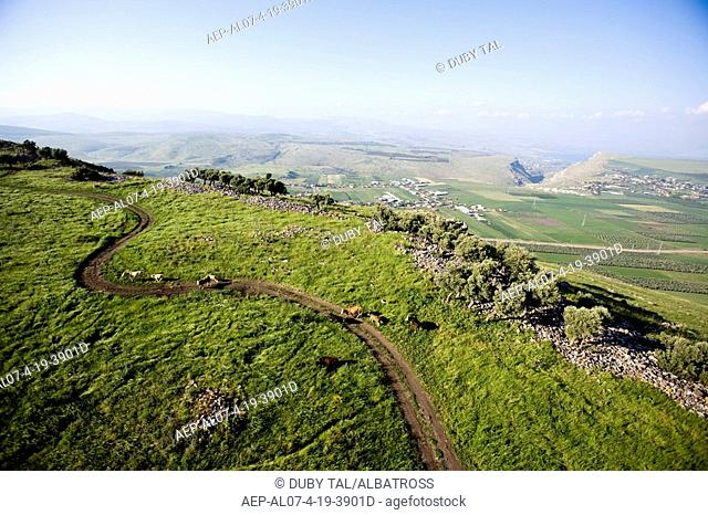 Aerial photograph of the archeologic site of the horns of Hitin in the Lower Galilee