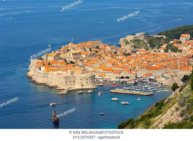 Dubrovnik, Dubrovnik-Neretva County, Croatia. Overall view of the old city and the port. The old city of Dubrovnik is a UNESCO World Heritage Site