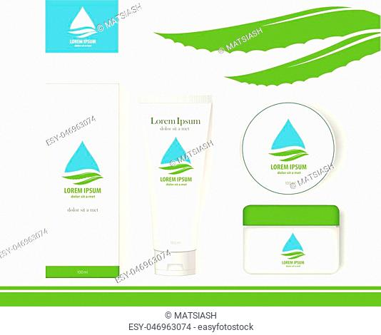 Packaging cosmetics, mock-up. Plastic Container, Package cream, Beauty products. Vector aloe