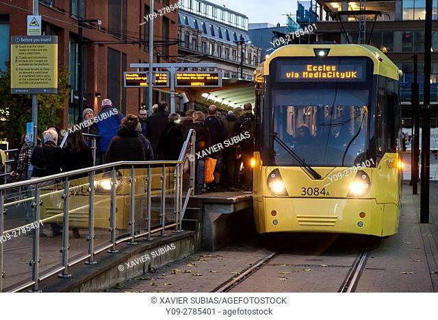 Piccadilly Gardens Tram Station, Manchester, England, United Kingdom