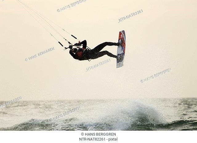 A wet kitesurfer, Sweden