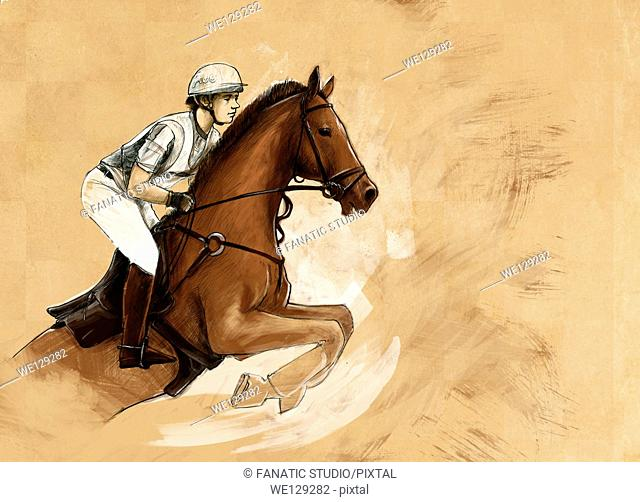 Illustrative image of man riding horse