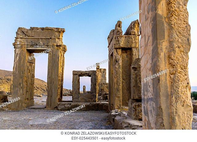 Ruins of Hadish Palace of Xerxes I in Persepolis ancient city in Iran