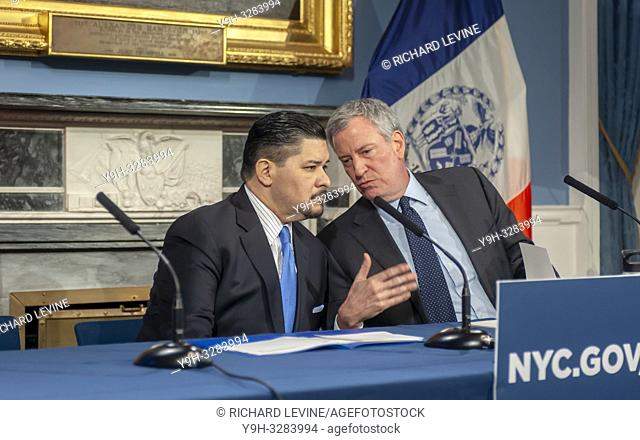 New York Mayor Bill de Blasio, right, and Richard A. Carranza, Dept. of Education Schools Chancellor at a press conference in the Blue Room in New York City...