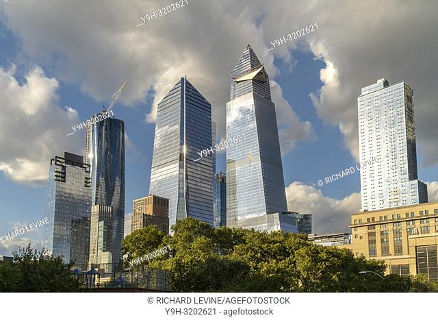 10 Hudson Yards, center left, 30 Hudson Yards, center right, and other development around Hudson Yards in New York on Tuesday, October 17, 2018
