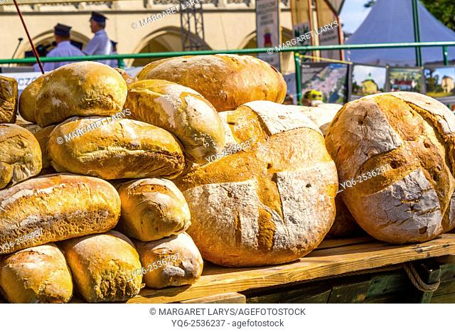 Street booth with fresh, organic, home made traditional bread in the Main Square in Krakow, Poland