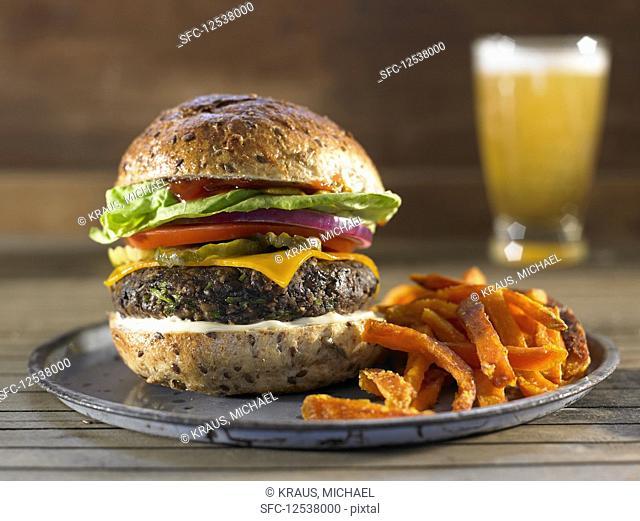 Vegan Bean Burger with Sweet Potato French Fries