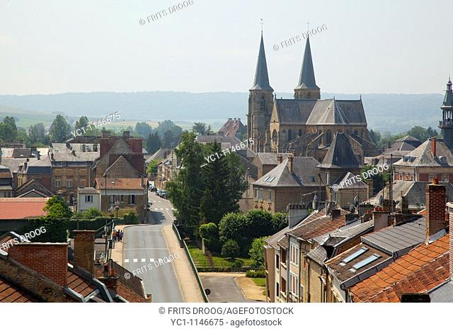 city view of Mouzon with Abbatiale Notre-Dame-de-Mouzon, Mouzon, France
