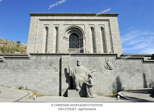 statues of Mesrop Mashots, the creator of the Armenian alphabet (around 405), and his pupil, facade of the Mesrop Mashtots Institute of Ancient Manuscripts