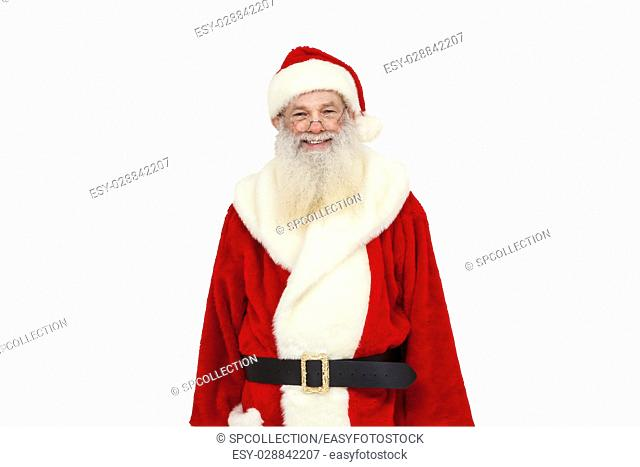 Santa Claus with real beard smiling into camera (isolated)
