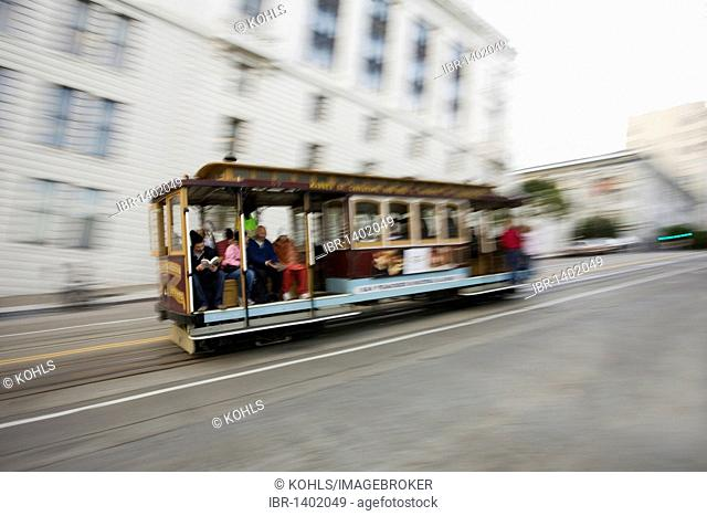 Cable Car, San Francisco, downtown, California, United States of America