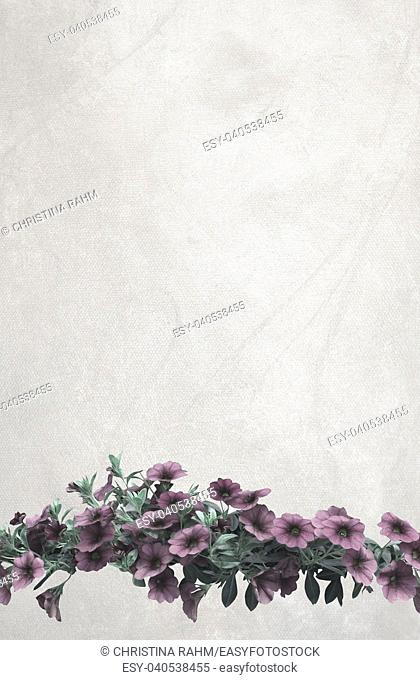 Vintage pink petunia flowers on vertical warm gray oil painting canvas background copy space texture
