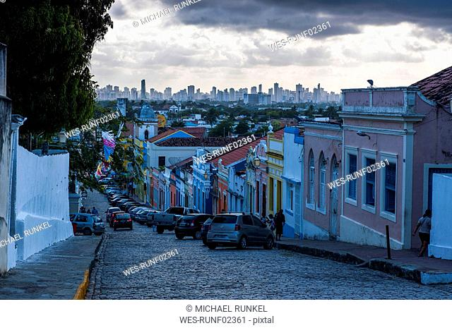 Overlook at sunset over the colonial town of Olinda with Recife in the background, Pernambuco, Brazil