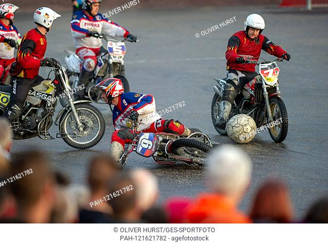 Kevin Gerber on the right (GER) on the ball, versus Ivan Krischtopa on the left 9 (RUS). GES / Motoball / European Championship, Final: Germany - Russia, 22