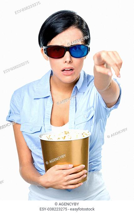Girl in 3D spectacles watching cinema with the bowl full of popcorn, isolated on white