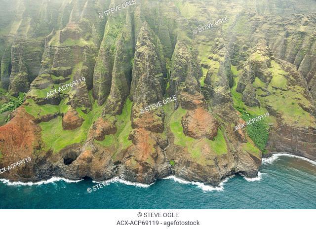 Aerial view of Na Pali Coastline, Kaua'i