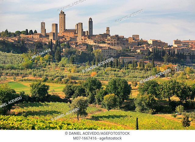 San Gimignano landscape, Tuscany, Italy, Europe