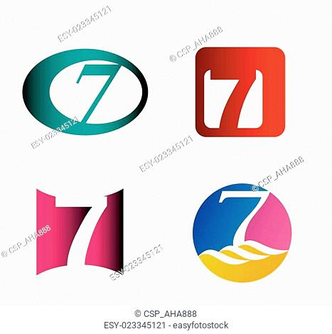Number seven logo template. Abstrac
