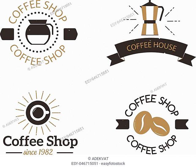 Coffee logo shop sign cafe symbol espresso design morning drink modern badge vector. Coffee logo cafe symbol and morning coffee logo