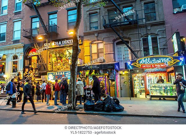 New York City, NY, Shops on Street Scene, Saint Mark's Place, in the East Village, Manhattan