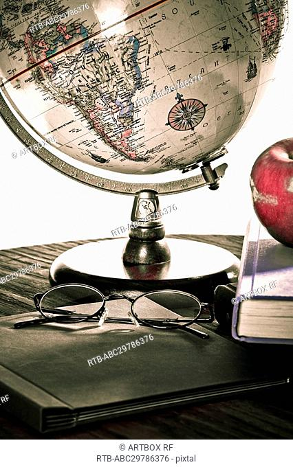 Close-up of a globe on a table