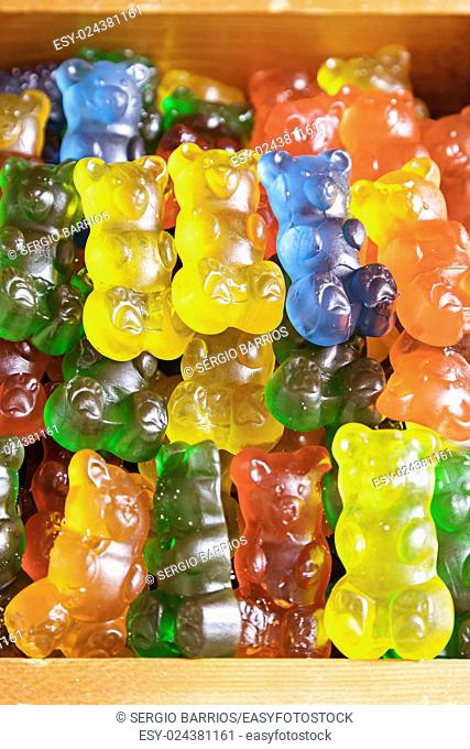 Homemade Gummy bears shaped, detail of a colorful gummy candy, sugar and gelatin