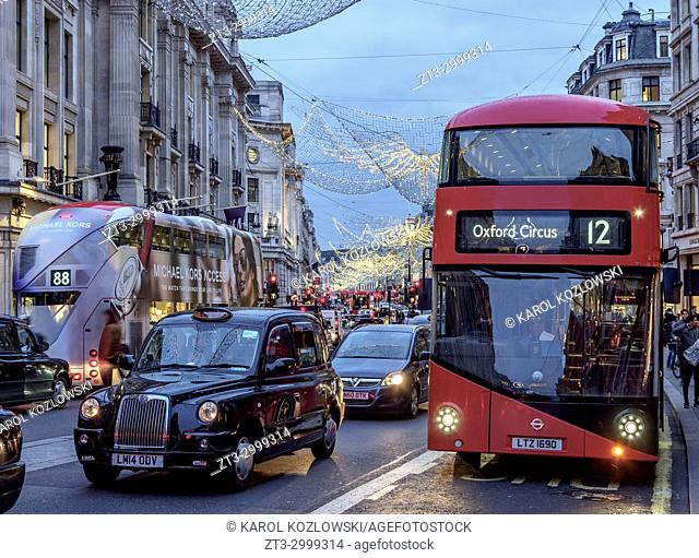 Regent Street with Christmas Illuminations at twilight, London, England, United Kingdom