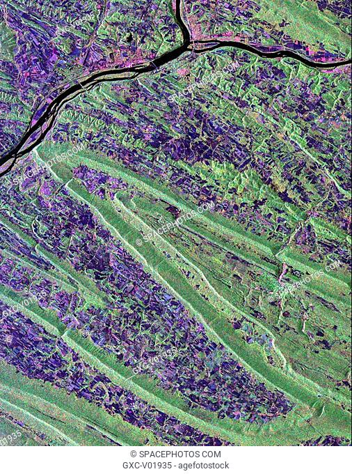 Scientists are using this radar image of the area surrounding Sunbury, Pennsylvania to study the geologic structure and land use patterns in the Appalachian...