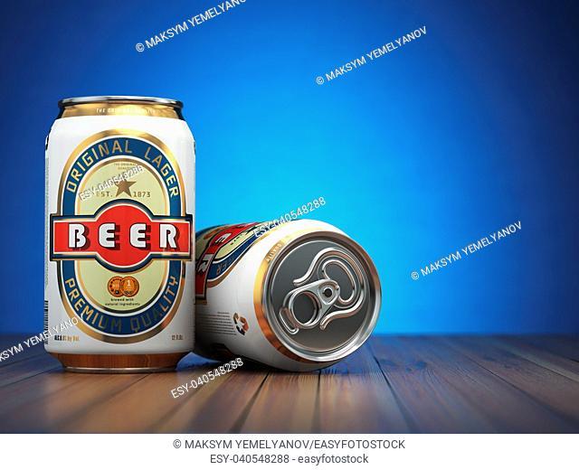 Beer cans on blue background. 3d illustration