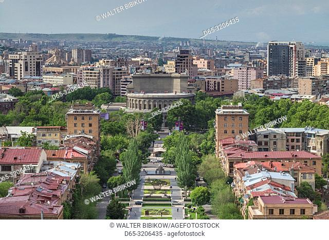Armenia, Yerevan, The Cascade, high angle view of the city and Yerevan Opera Theater