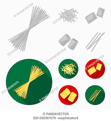 Different types of pasta. Types of pasta set collection icons in monochrome, flat style bitmap symbol stock illustration